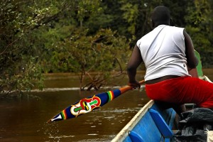 Tembe, the original Bushinengue art, is becoming rare nowadays on the Maroni. However, sometimes a colourful rainbow of paintings can be spotted between plants and mud of the Maroni river, as this paddle, used to sail silently through the coves.//  Le Tembé, l'art des Bushinengué, est de nos jours devenu rare dans le quotidien des Gens du Fleuve. Cependant, il arrive qu'entre la verdure et la boue du Maroni, un vif arc-en-ciel se laisse apercevoir, comme cette pagaie servant à se mouvoir silencieusement dans les criques.